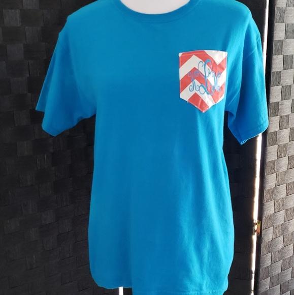 Shirts Tops Klm Monogrammed Pocket Tee Poshmark